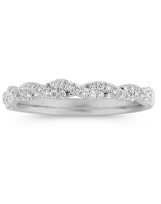 Shane Co. Infinity Twist Pavé-Set Diamond Wedding Band White Gold Wedding Ring