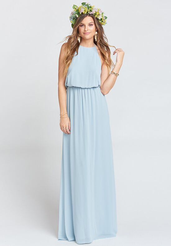 Show Me Your Mumu Heather Halter Dress - Steel Blue Chiffon Halter Bridesmaid Dress