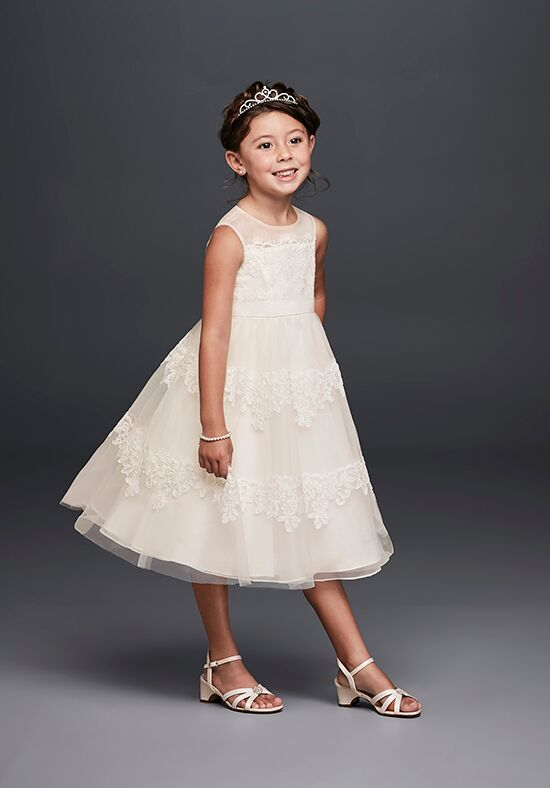 David's Bridal Flower Girl WG1374 Ivory Flower Girl Dress