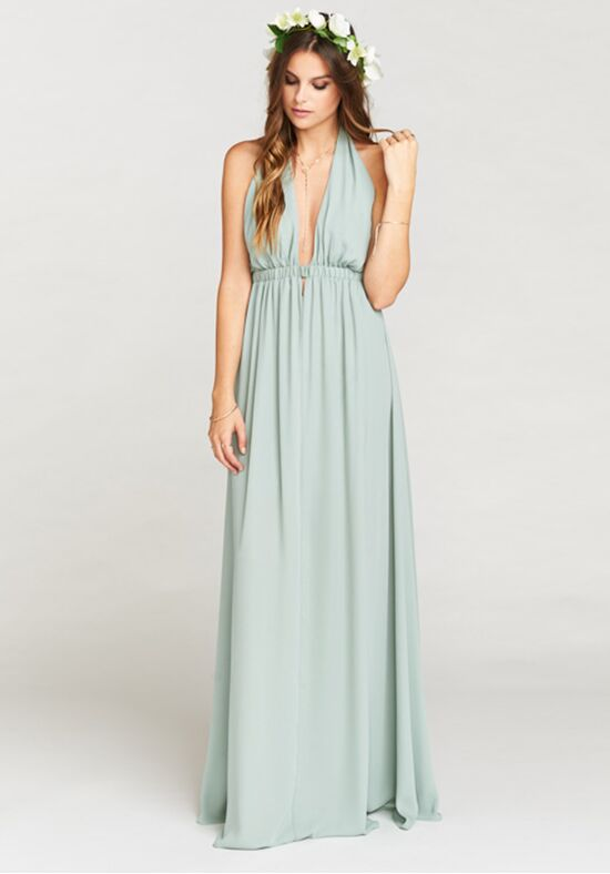 Show Me Your Mumu Luna Halter Dress - Silver Sage Crisp Halter Bridesmaid Dress