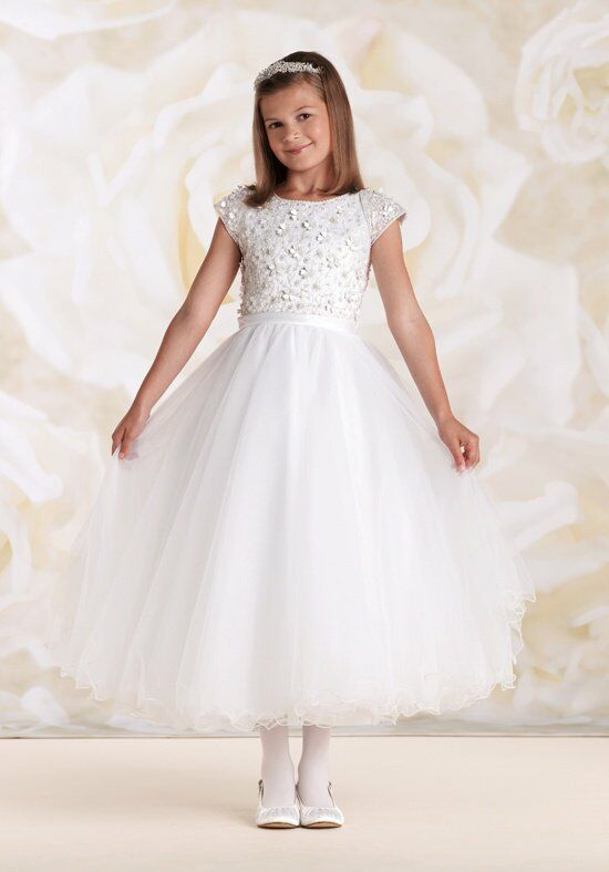 Joan Calabrese by Mon Cheri 115309 White Flower Girl Dress