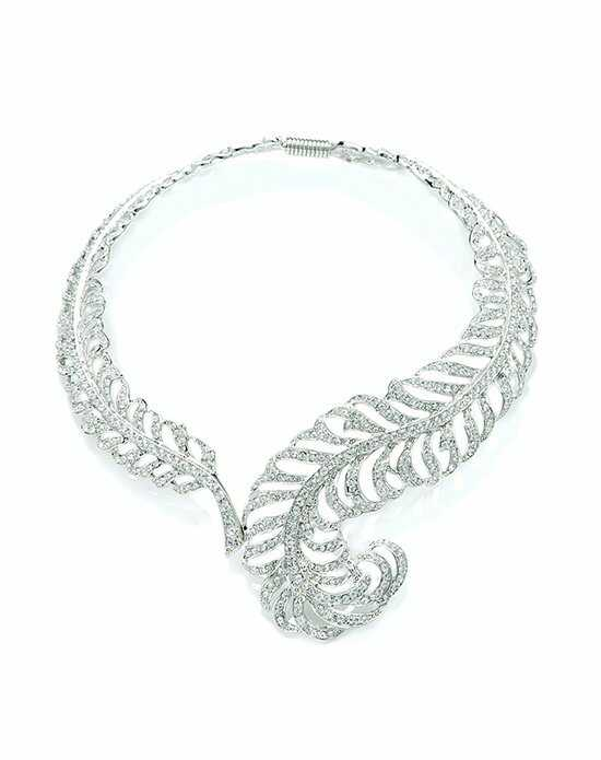 Thomas Laine Silver Swarovski Crystal Feather Necklace Wedding Necklace photo