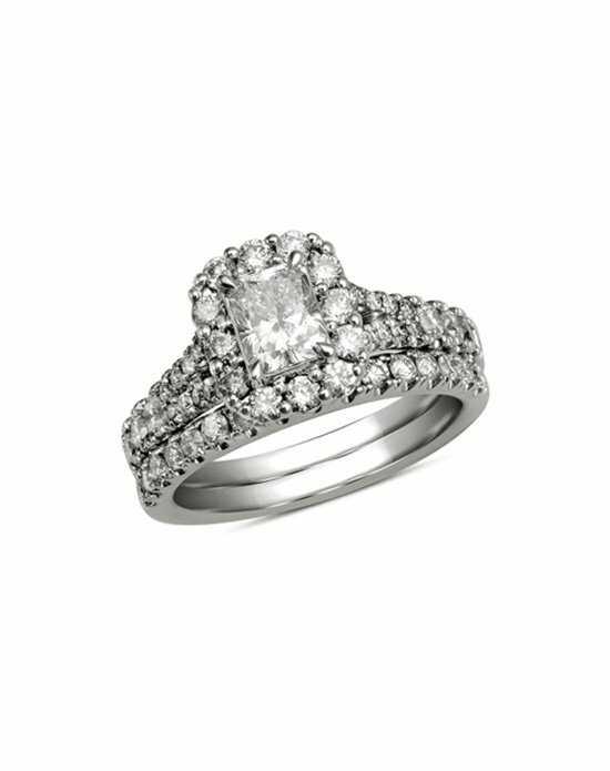 Zales 1 1 2 CT T W Certified Radiant Cut Diamond Bridal Set in 14K White Go