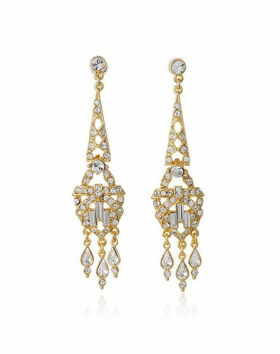 Thomas Laine Ben-Amun Gold Crystal Deco Chandelier Earrings Wedding Earring photo