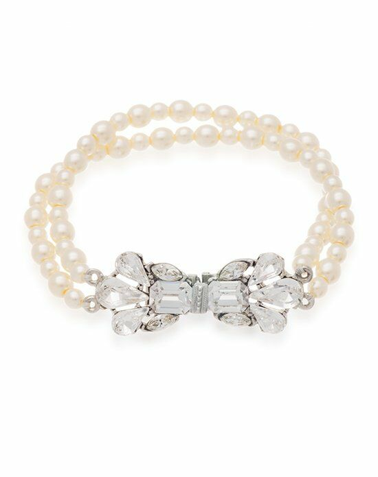 Thomas Laine Ben-Amun Bridal Pearl and Crystal Bow Bracelet Wedding Bracelet photo