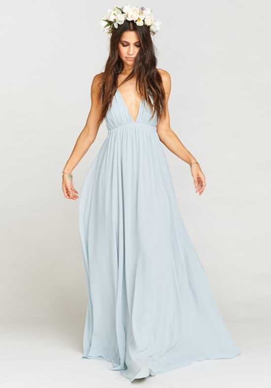 Show Me Your Mumu Ava Maxi Dress - Steel Blue Chiffon V-Neck Bridesmaid Dress