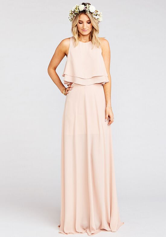 Show Me Your Mumu King Crop Top - Dusty Blush Crisp Halter Bridesmaid Dress