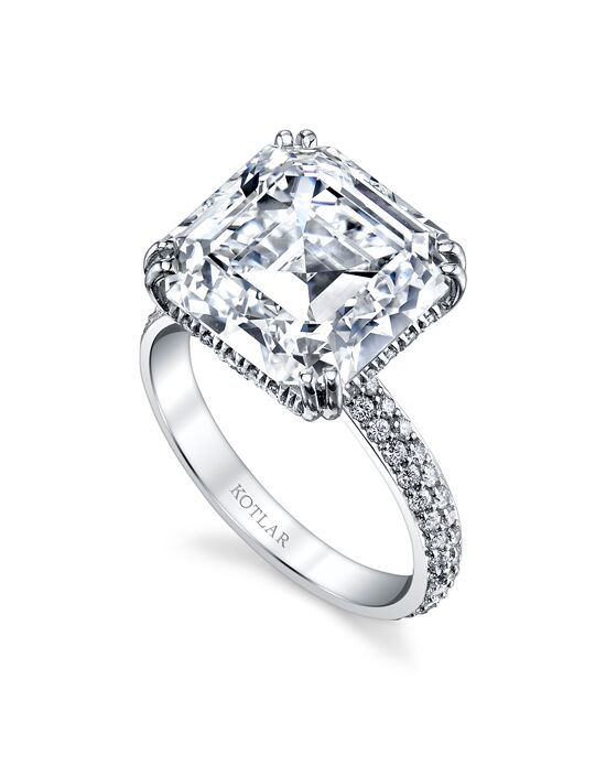 "Say ""Yes!"" in Platinum Elegant Asscher Cut Engagement Ring"