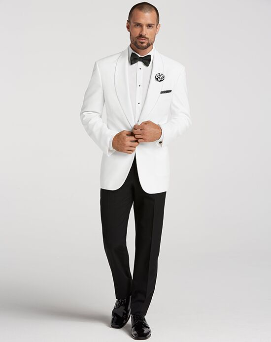 Men's Wearhouse White Shawl Lapel Dinner Jacket White Tuxedo
