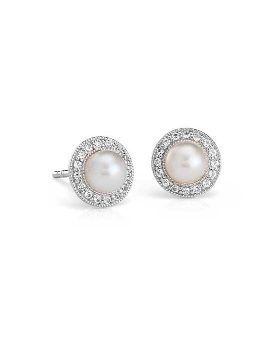 Blue Nile Freshwater Cultured Pearl and White Topaz Halo Earrings Wedding Earring photo