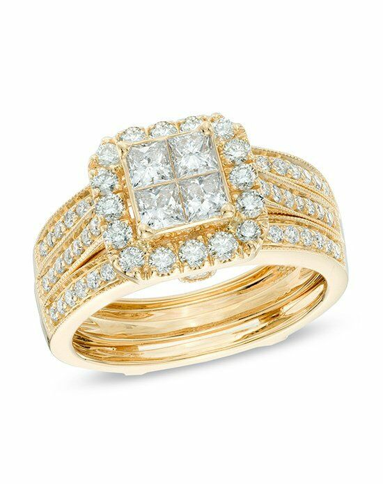Zales 1 1 2 CT T W Princess Cut Quad Diamond Bridal Set in 14K Yellow Gold