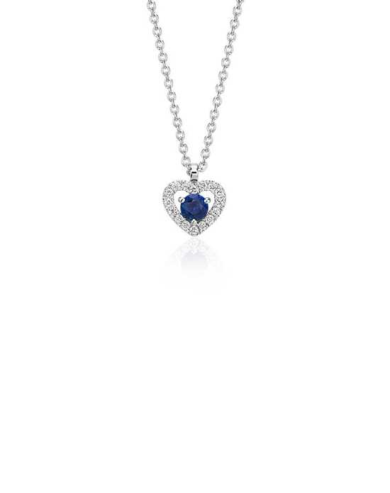Blue Nile Petite Sapphire and Diamond Pavé Heart Pendant Wedding Necklace photo