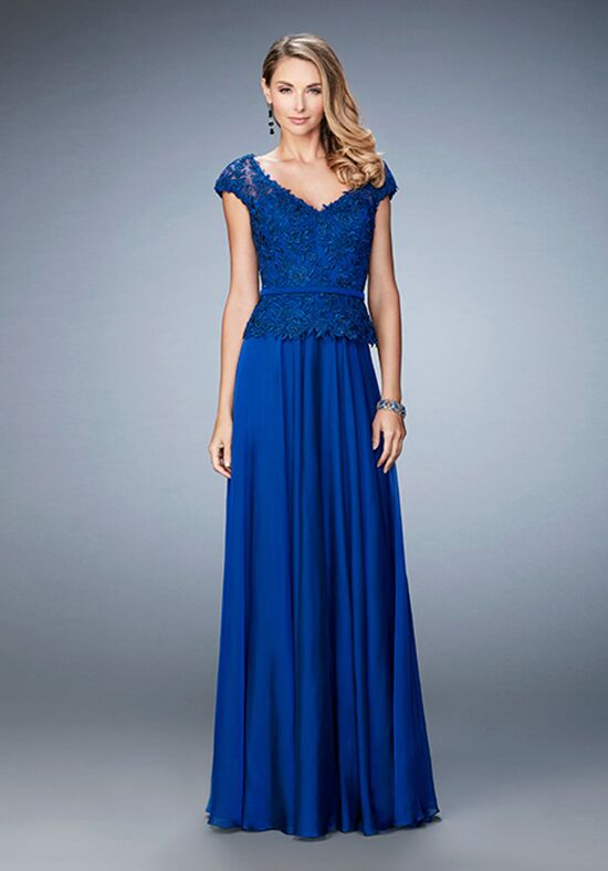 Superbe La Femme Evening 23085 Blue Mother Of The Bride Dress