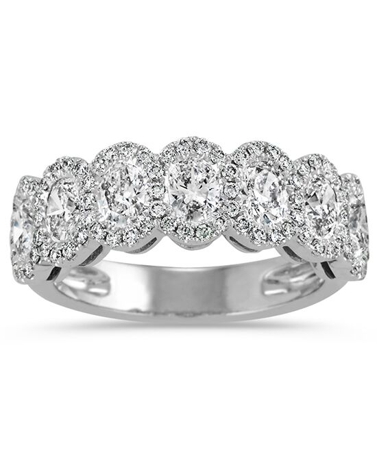 Shane Co. Oval And Round Diamond Halo Wedding Band White Gold Wedding Ring