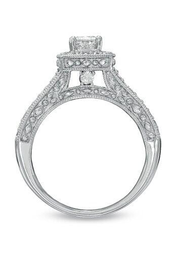 Zales 1 4 Ct T W Princess Cut Diamond Frame Bridal Set In 14k