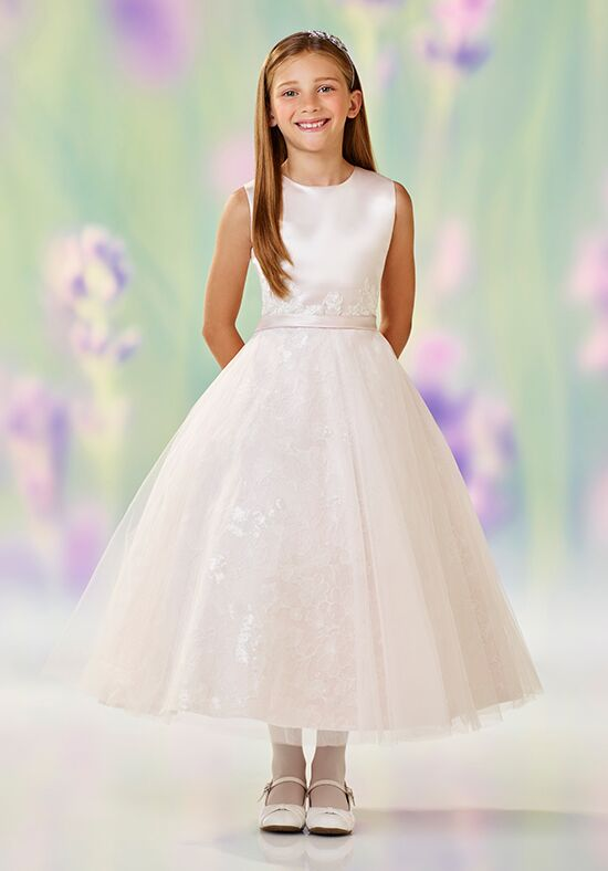 Joan Calabrese by Mon Cheri 118319 White Flower Girl Dress