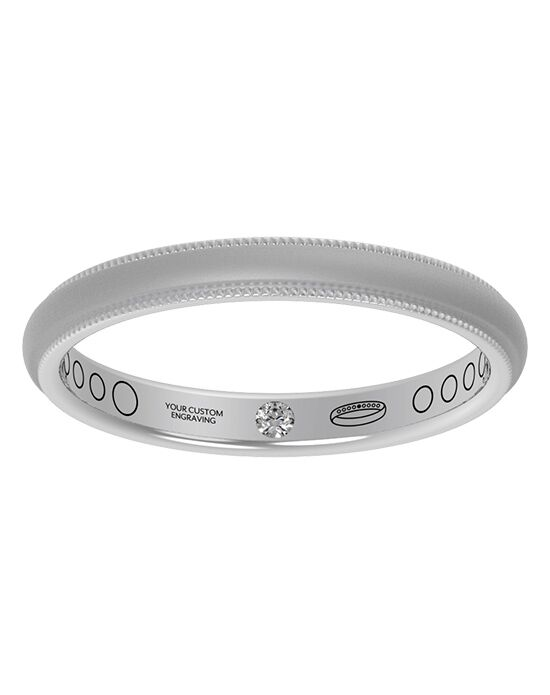 Everband 2.5 mm Milgrain with Matte Gold, Rose Gold, White Gold, Platinum Wedding Ring
