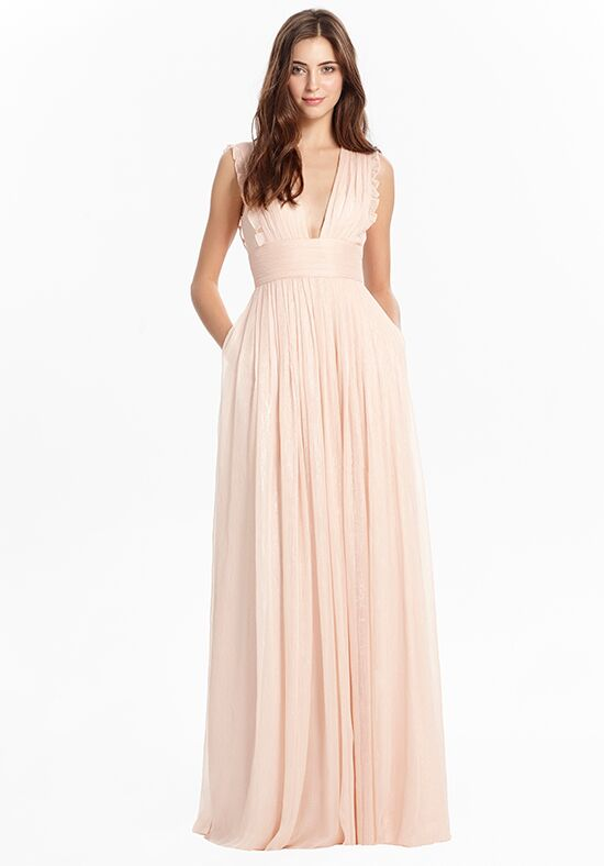Monique Lhuillier Bridesmaids 450425_Pink V-Neck Bridesmaid Dress