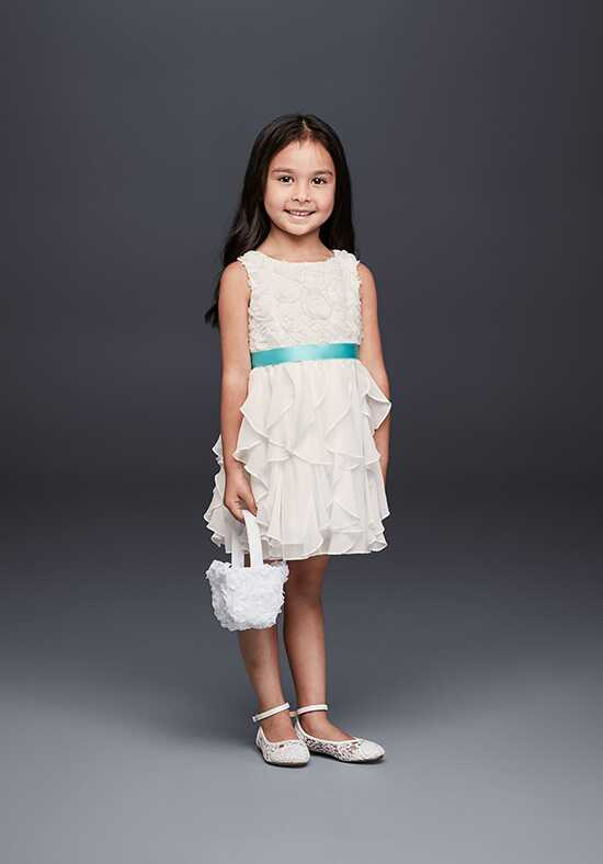 David's Bridal Flower Girl OP242 White Flower Girl Dress