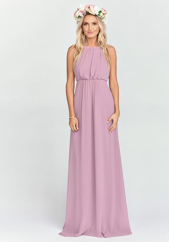 Show Me Your Mumu Amanda Maxi Dress - Antique Rose Chiffon Halter Bridesmaid Dress
