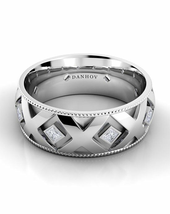 Danhov Classico Flat X Band White Gold Wedding Ring