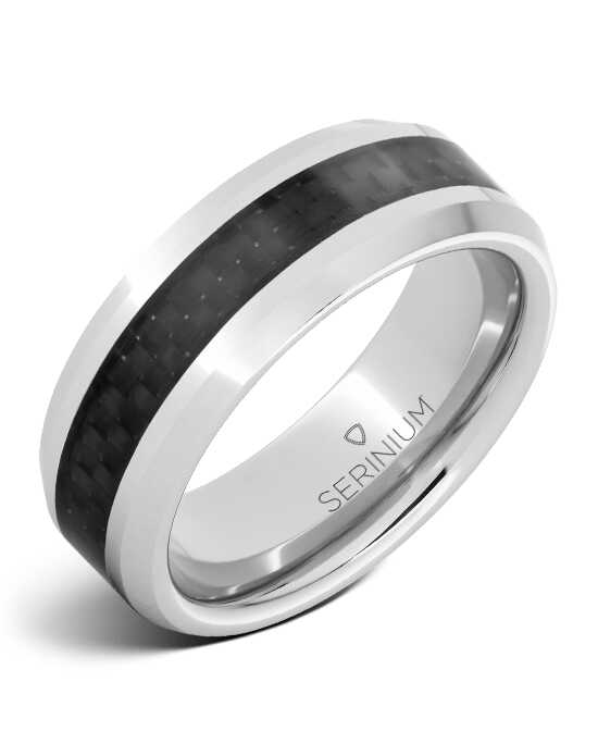 Serinium® Collection Black Ice — Blk Carbon Fiber Inlay Serinium® Ring-RMSA002071 Serinium® Wedding Ring
