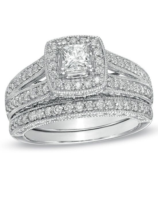 Zales 1 1 4 CT T W Princess Cut Diamond Frame Bridal Set in 14K White Gold