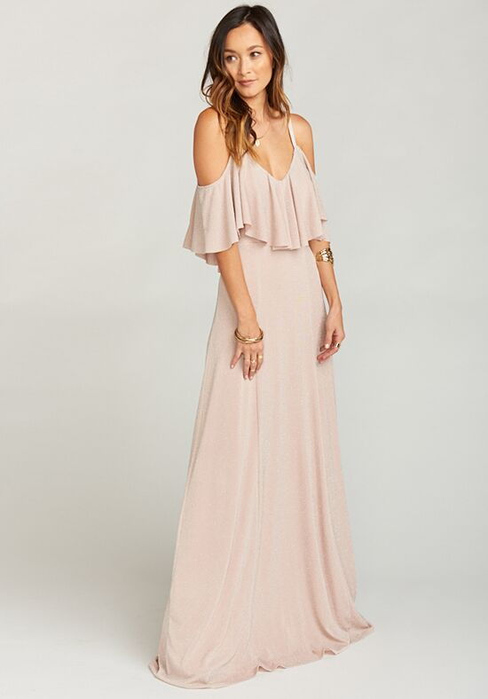 Show Me Your Mumu Renee Ruffle Maxi Dress - Dancing Queen Shine Blush V-Neck Bridesmaid Dress