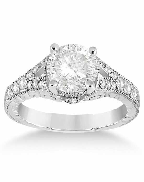 Allurez - Customized Rings Antique Style Art Deco Diamond Engagement Ring 14K White Gold (0.33ct) Engagement Ring photo