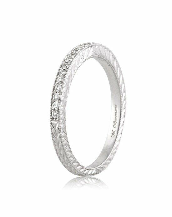 Mark Broumand 0.50ct Round Brilliant Cut Diamond Pave Wedding Band with Hand Engraving Platinum Wedding Ring