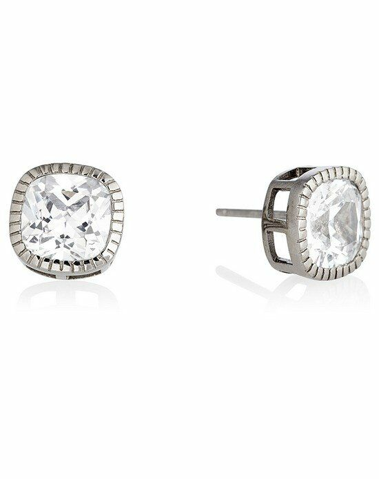 Thomas Laine Lucille Cushion Cut Stud Earrings - Silver Wedding Earring photo