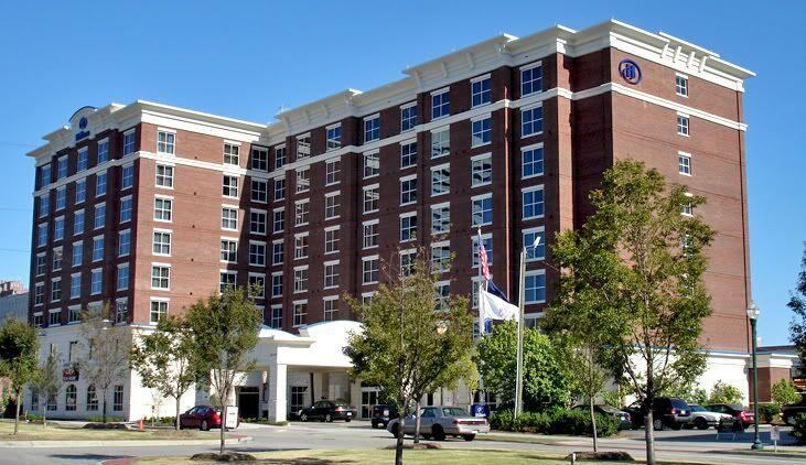 exterior of Hilton hotel in downtown Columbia.