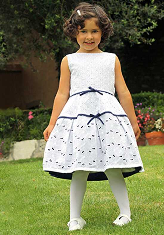 Isabel Garretón Treasure Girls Dress in Eyelet Blue Flower Girl Dress