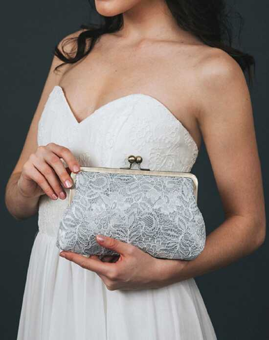 Davie & Chiyo | Clutch Collection Antoinette Clutch: Grey Mist Ivory, Gray Clutches + Handbag