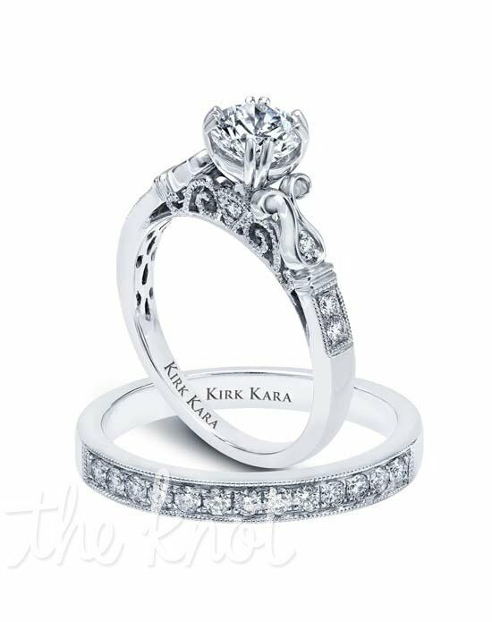 Kirk Kara Pirouetta Collection K163R & K160-B Platinum, White Gold Wedding Ring