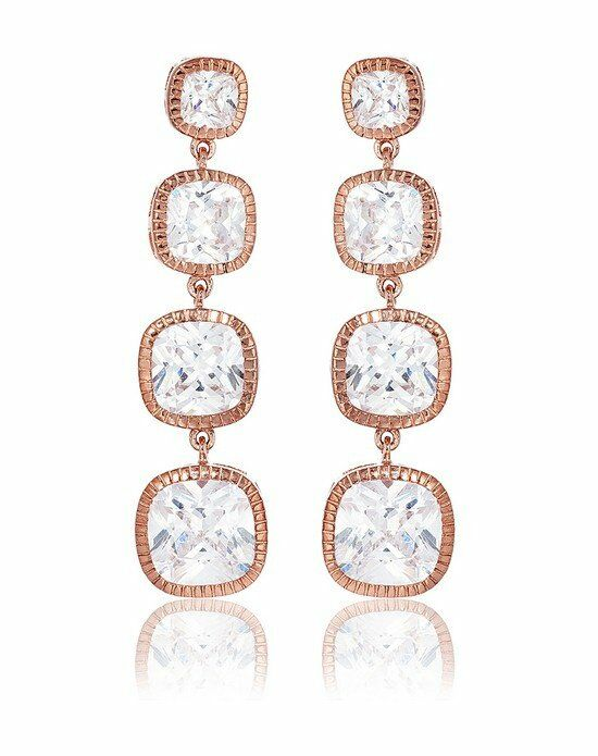 Thomas Laine Lucille Long Drop Earrings - Rose Gold Wedding Earring photo