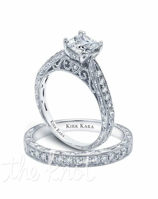 Kirk Kara Stella Collection K161ES & K160E-B Platinum, White Gold Wedding Ring