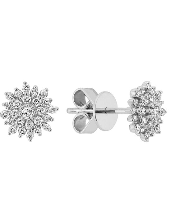 Shane Co. Diamond Cluster Earrings 14k White Gold Wedding Earrings photo