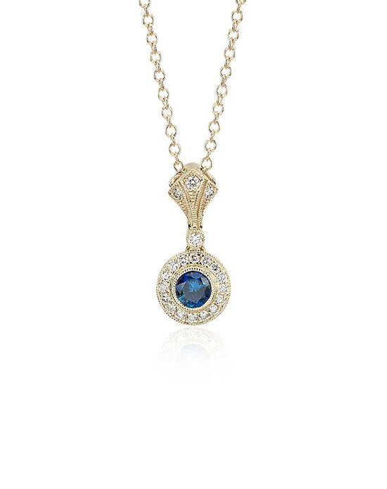 Blue Nile Sapphire and Diamond Vintage-Inspired Pendant Wedding Necklace photo