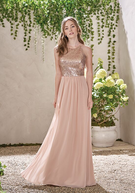 B2 By Jasmine B193007 Bateau Bridesmaid Dress