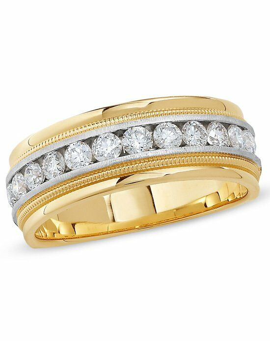zales mens 1 ct tw diamond channel milgrain band in 14k two tone gold - Zales Mens Wedding Rings