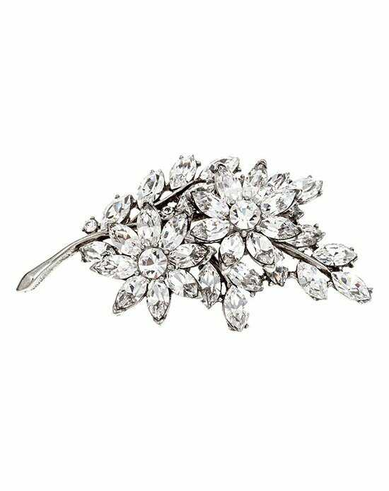 Thomas Laine Bridal Crystal Flower Pin Silver