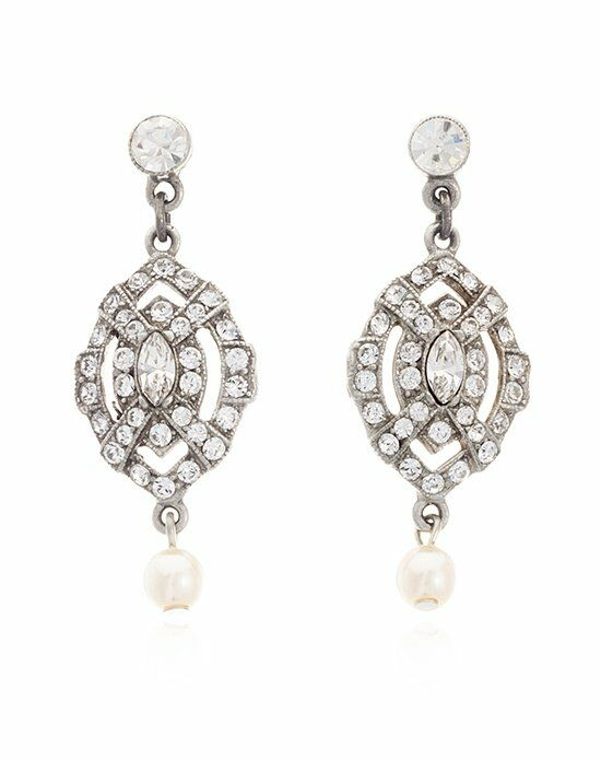 Thomas Laine Ben-Amun 1920s Style Mini Josephine Crystal Drop Earrings Wedding Earring photo