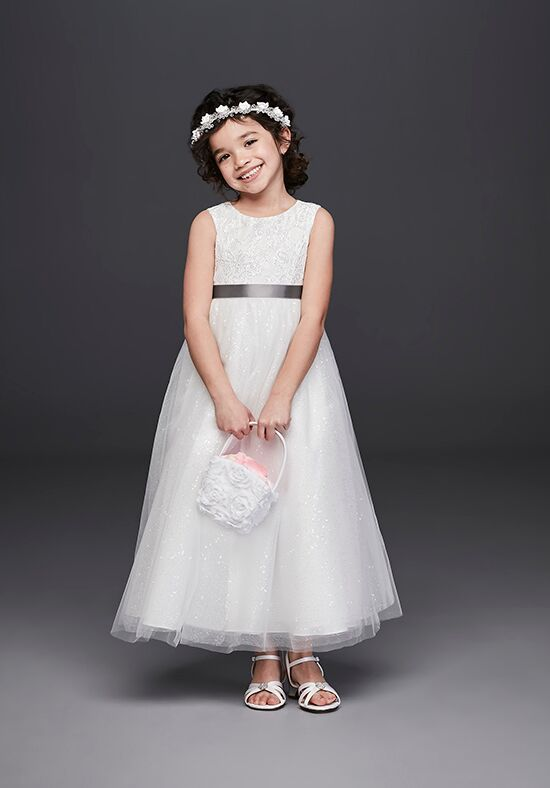 David's Bridal Flower Girl RK1384 White Flower Girl Dress