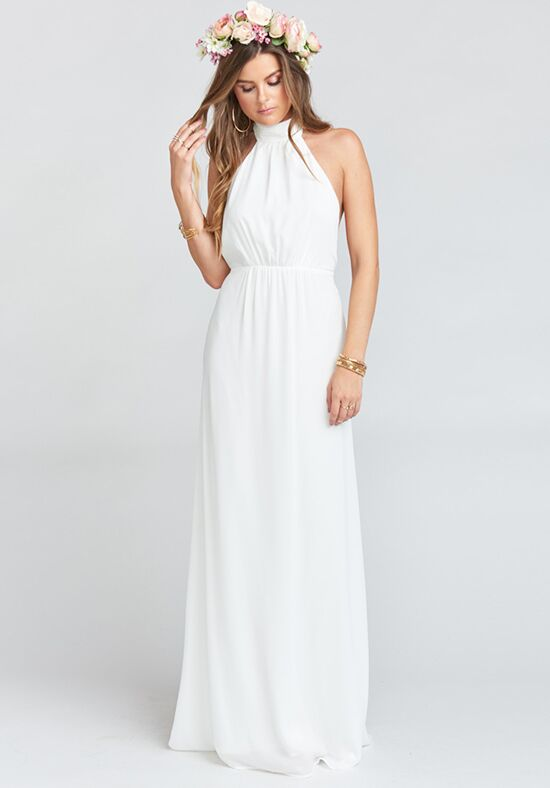 Show Me Your Mumu Collette Collar Dress - Ivory Crisp Halter Bridesmaid Dress