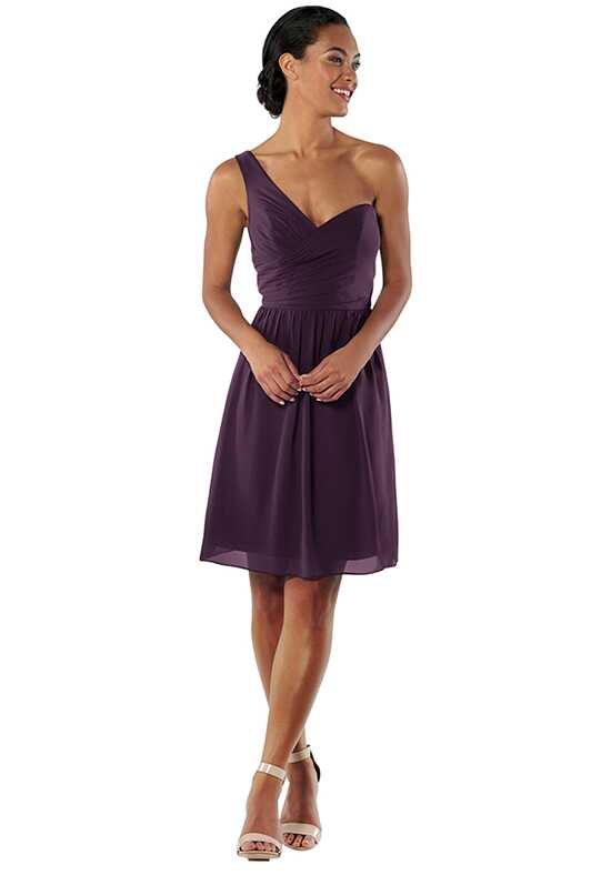 Brideside Amy Cocktail in Eggplant One Shoulder Bridesmaid Dress