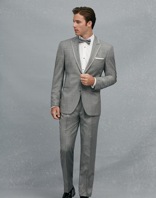Jos. A. Bank Satin Edge Peak Lapel Gray Tuxedo Wedding Tuxedos + Suit photo