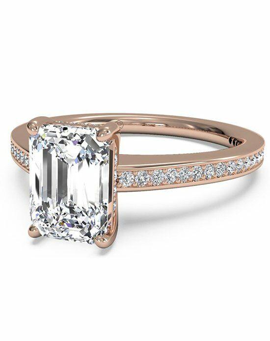 Ritani Emerald Cut Diamond Micropave Band Engagement Ring ...