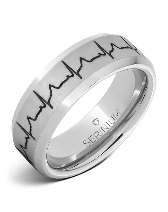 Serinium® Collection Heartbeat — Custom Engraved Serinium® Ring -RMSA005911 Serinium® Wedding Ring