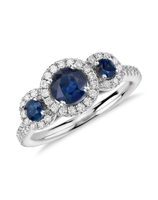 Blue Nile Isola Sapphire and Diamond Three Stone Halo Ring Wedding Ring photo